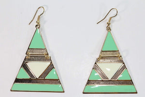 Turquoise and White Egyptian Style Enamel Earrings