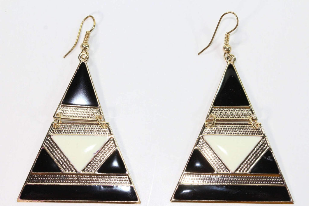 Black & White Egyptian Style Enamel Earrings