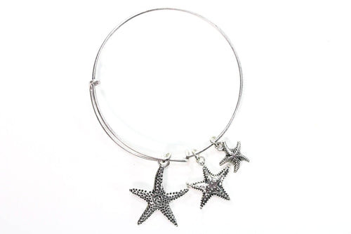 Starfish Silver Tone Charm Bangle