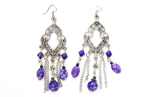 Purple Filigree Open Work & Marbled Beaded Earrings