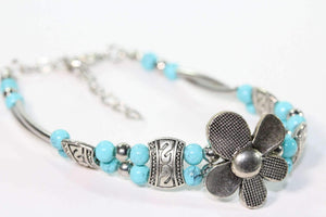 Silver Petal Flowers with Turquoise color & Silver Tone Beads Bracelet