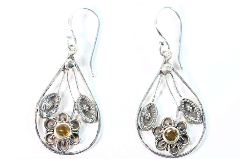 Citrine Flower with Leaves Earrings