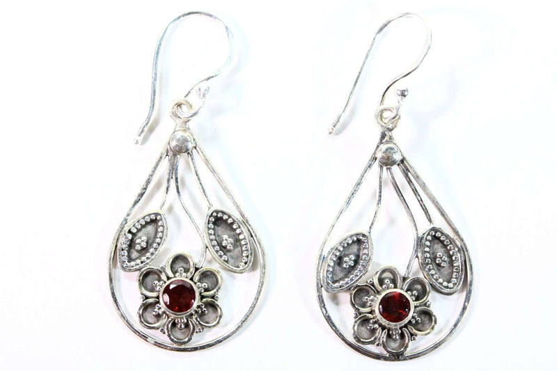Garnet Flower with Leaves Earrings