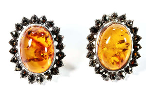 Faux Amber and Marcasite Stud Earrings