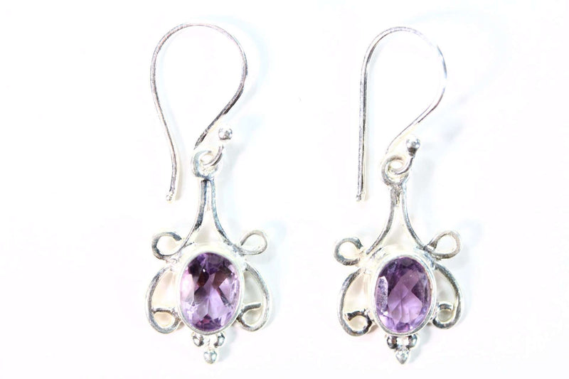 Scroll-work Frame Amethyst Hook Earrings