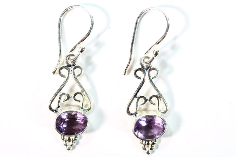 Scroll-work Amethyst Hook Earrings