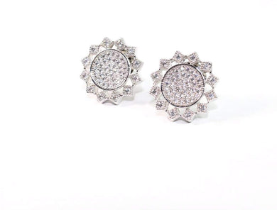 Silver Tone High Sun Chakra Sparkling Stud Earrings
