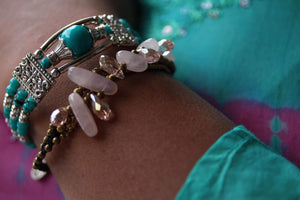 Feather Charm And Beads Bracelet by Wild Lotus