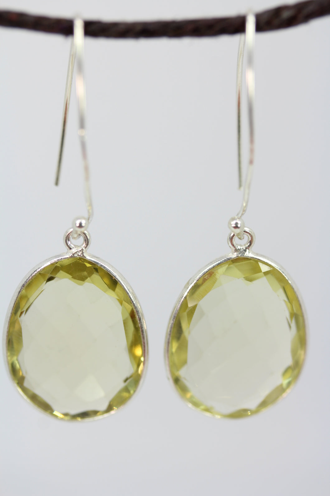 Lemon Quartz Large Oval Earrings