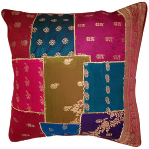 Indian Patchwork Cushion Cover Design Home Accent Furnishing | Wild Lotus®