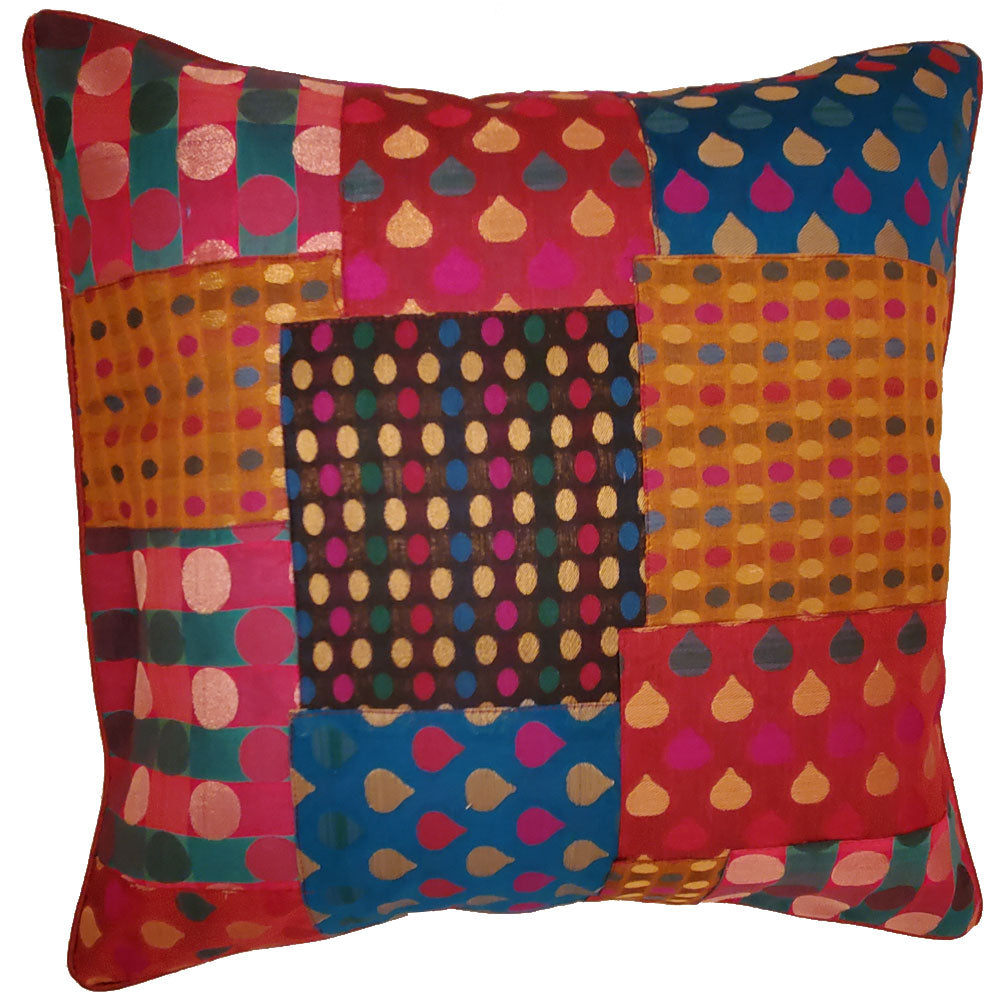 Indian Patchwork Silk Polka Dot Cushion Cover Design Home Accent Furnishing - 16 x 16 | @wildlotusbrand