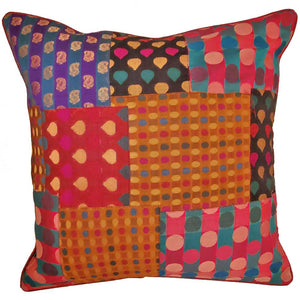 Indian Patchwork Silk Polka Dot Cushion Cover Design Home Accent Furnishing - 16 x 16 | Wild Lotus® | @wildlotusbrand