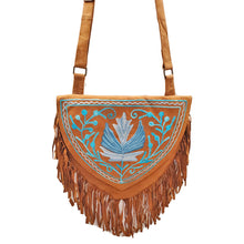 Load image into Gallery viewer, Kashida Embroidery of Bihar Suede Purse with Fringe Tassel Shoulder Bag | Blue | Wild Lotus®