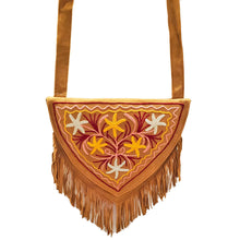 Load image into Gallery viewer, Kashida Embroidery of Bihar Suede Purse with Fringe Tassel Shoulder Bag | Yellow & White | @wildlotusbrand