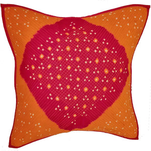 Mandala Bandhini Print Cotton Cushion Cover Design Floral Pattern Home Accent Furnishing - 16 x 16
