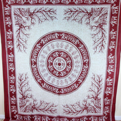 Maroon Tigers & Elephants Majestic Beasts Tapestry