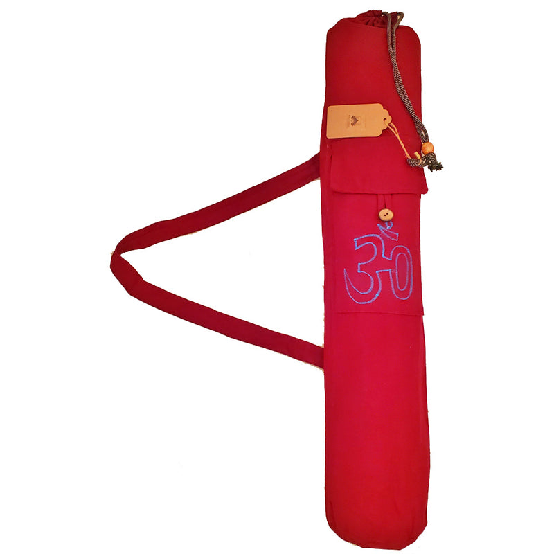 Maroon Cotton Hindu Sanskrit Aum Yoga Mat Bag Carrier | Wild Lotus® | @wildlotusbrand