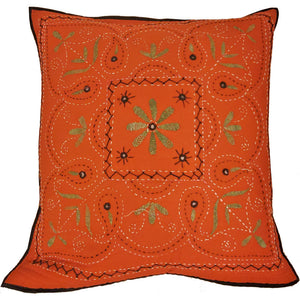 "Mirror Work Aari Embroidery Design Cushion Cover Home Accent Furnishing - 16"" x 16"" 