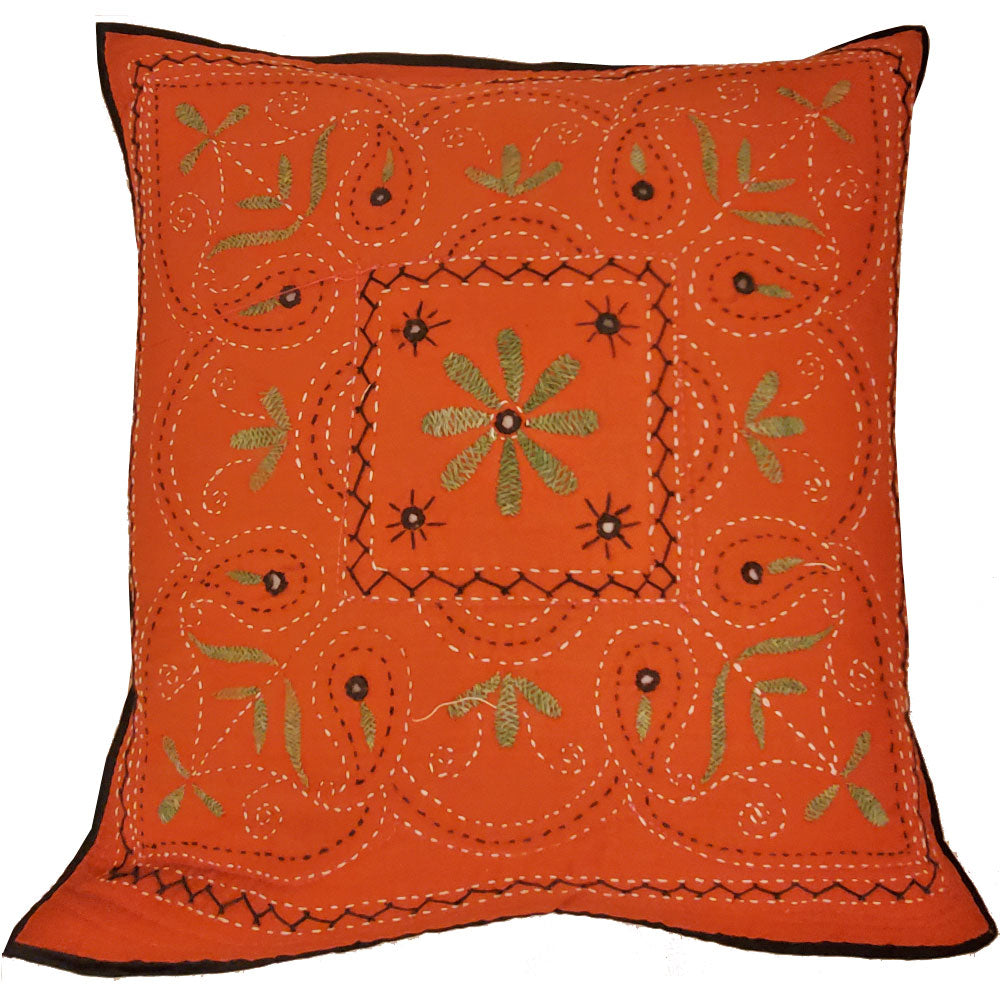 Mirror Work Aari Embroidery Design Cushion Cover Home Accent Furnishing - 16