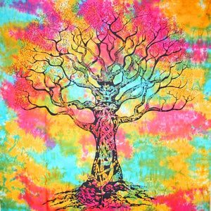 Multi Color Celtic Knot Tree Of Life Tie Dye Tapestry
