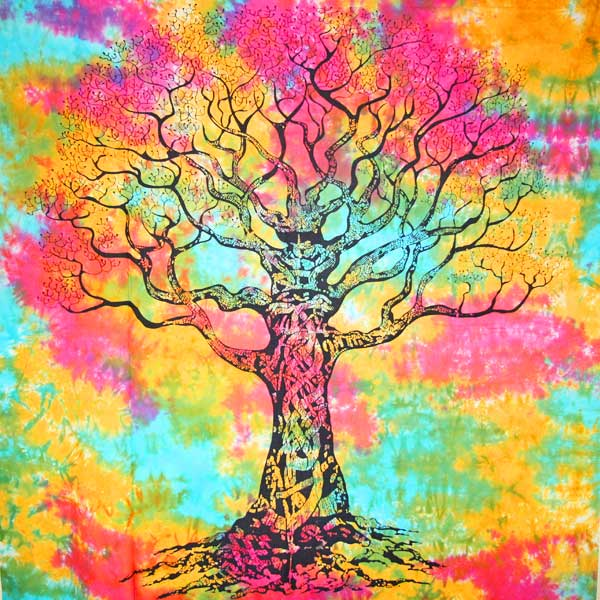 Multi Color Celtic Knot Tree Of Life Tie Dye Tapestry | Wild Lotus® | @wildlotusbrand