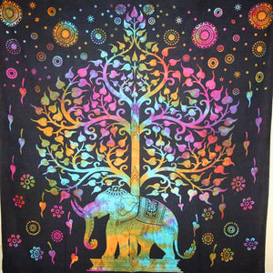 Multi Color Majestic Elephant And Tree of Life Tie Dye Tapestry