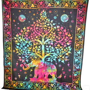Multi Color Majestic Elephant and Tree of Life Tie Dye Bordered Tapestry