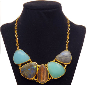 Multi Gemstone Statement Necklace