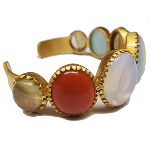 Multi Gemstone Gold Plated Brass Cuff Bracelet