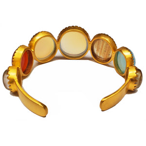 Multi Gemstone Gold Plated Brass Cuff Bracelet | Wild Lotus® | @wildlotusbrand | #jewelry
