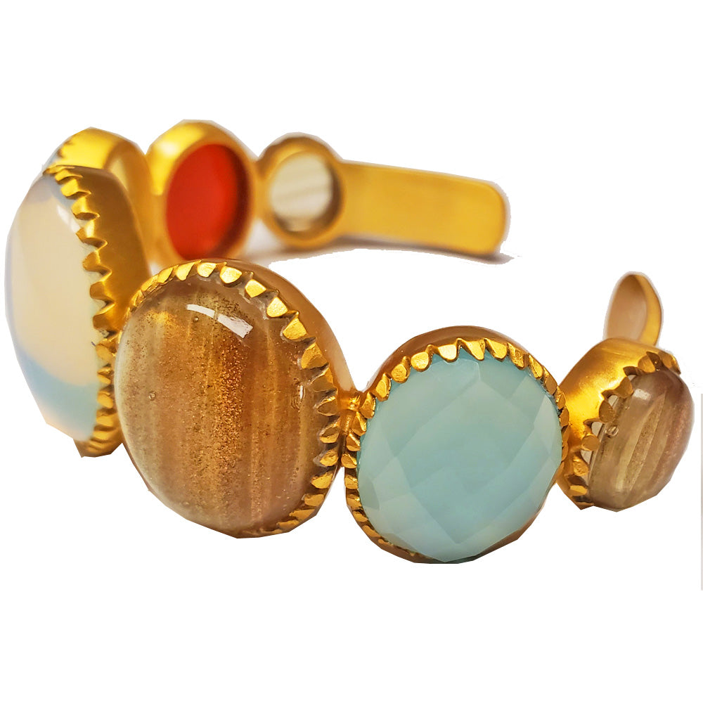 Multi Gemstone Gold Plated Brass Cuff Bracelet | Wild Lotus®