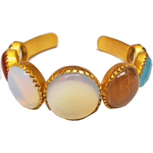 Load image into Gallery viewer, Multi Gemstone Gold Plated Brass Cuff Bracelet | Wild Lotus® | @wildlotusbrand
