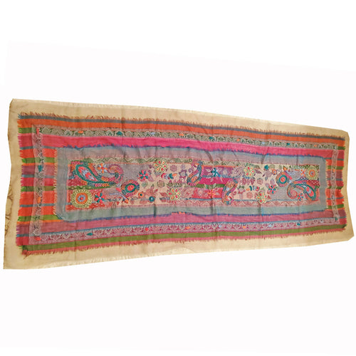 Multi Colour Three Layered Handspun Design Embroidered Table Runner and Stole | @wildlotusbrand | Wild Lotus®