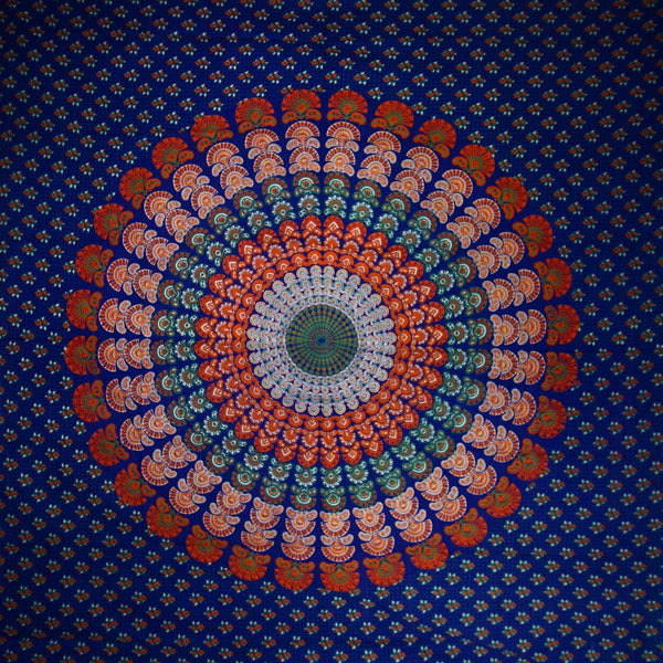 Navy Blue Peacock Dance Mandala Tapestry