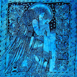 Ocean Blue Angel of Peace Tie Dye Tapestry
