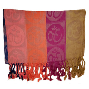 Four-Color Om Meditation Symbol Handwoven Tassel Scarf