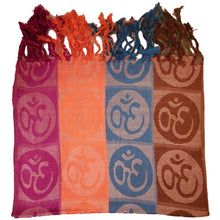 Load image into Gallery viewer, Four-Color Om Meditation Symbol Handwoven Tassel Scarf