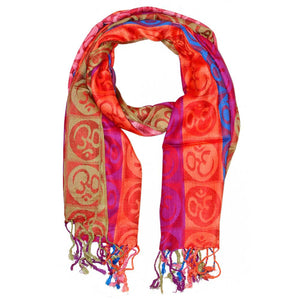 Four-Color Om Meditation Symbol Handwoven Tassel Scarf | Wild Lotus® | @wildlotusbrand