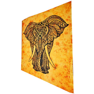 Orange Indian Bohemian Elephant Tapestry Full Size Psychedelic Wall Hanging Decoration | @wildlotusbrand | Wild Lotus®