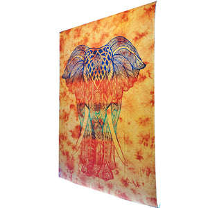 Orange Bohemian Elephant Tie Dye Pattern Hippie Tapestry Psychedelic Wall Hanging Decoration