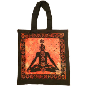 Orange Seven Chakras Avatar Meditation Tie Dye Market Tote Bag Canvas Graphic | Wild Lotus® | @wildlotusbrand