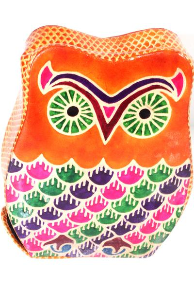 Orange Vintage Owl Leather Art Coin Bank | Wild Lotus® | @wildlotusbrand