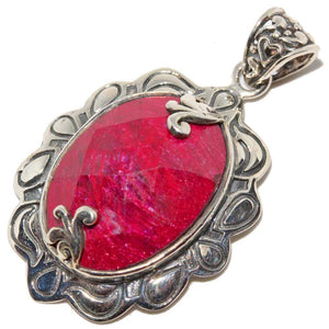Victorian Style Raw Ruby Oxidized Pendant