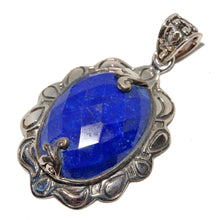 Load image into Gallery viewer, Victorian Style Lapis Lazuli Oxidized Pendant