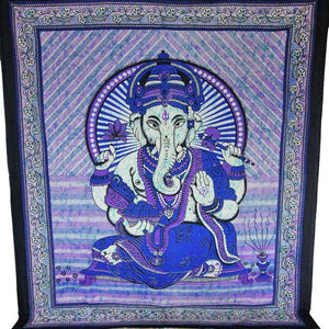Purple Ganesha Holding Lotus Flower In Batik Style Tie Dye Tapestry