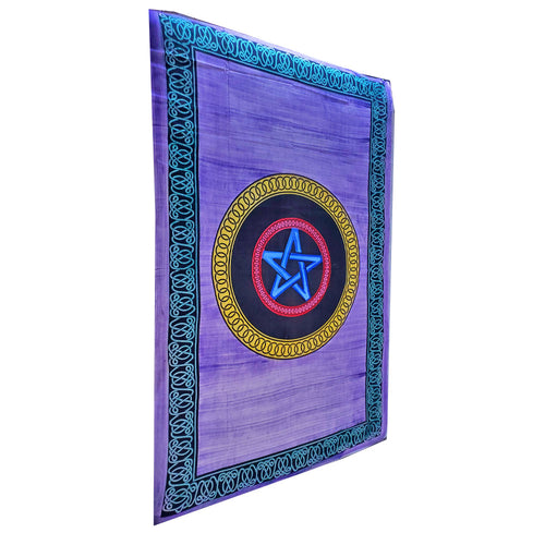 Purple Geometric Star Frame Brushstroke Pattern Tapestry Coverlet | Wild Lotus® | @wildlotusbrand