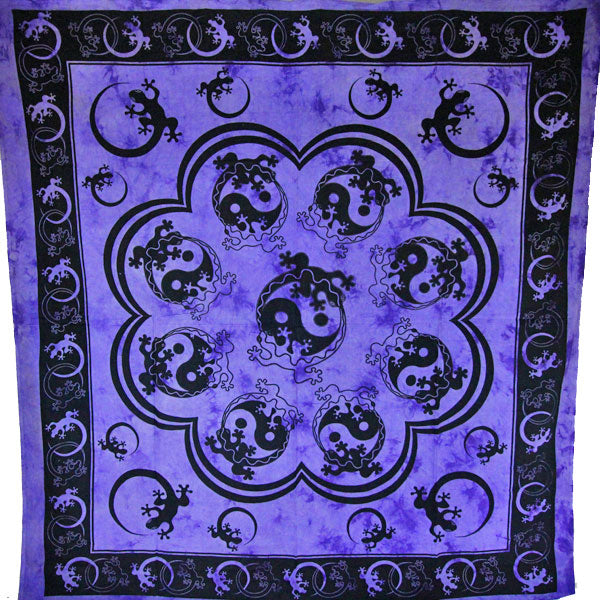 Purple Salamander & Yin Yang Artwork Tapestry