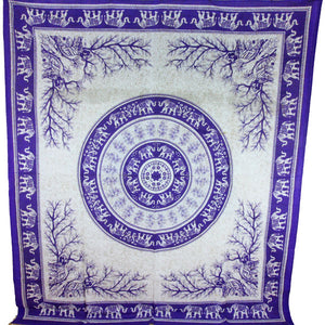Purple Tigers & Elephants Majestic Beasts Tapestry