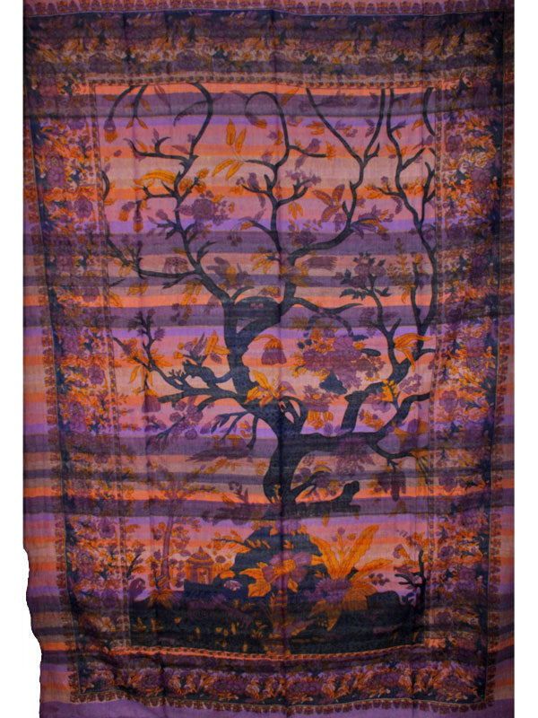 Purple Tree of Life Birds Art in Hand-loom Tapestry