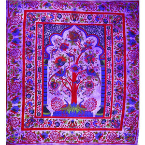 Purple Tree of Life Peacock Tapestry
